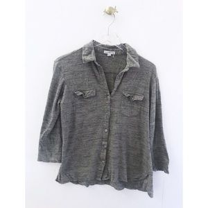 james perse / washed button down shirt 3/4 sleeve